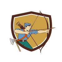 Archer Aiming Long Bow Arrow Cartoon Crest