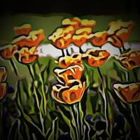 Floral Art Orange Field of Flowers