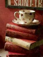 Books and Cup in Watercolor