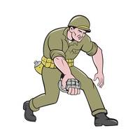 World War Two Soldier American Grenade Cartoon
