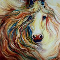 FRIENDSHIP EQUINE ABSTRACT by Marcia Baldwin