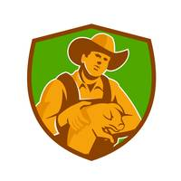 Pig Farmer Holding Piglet Front Shield Retro