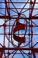 Abstract Red Steel Pipes