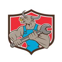 Mechanic Minotaur Bull Spanner Shield Cartoon