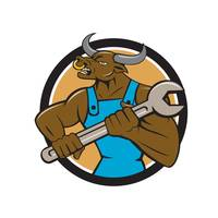 Mechanic Minotaur Bull Spanner Circle Cartoon