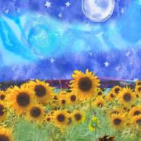 """""""sunflowers, stars, and full moon"""" by GrowBloomShine"""