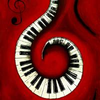 Swirling Piano Keys-Music In Motion Art Prints & Posters by Wayne Cantrell