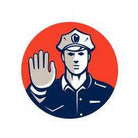 Traffic Policeman Hand Stop Sign Circle Retro
