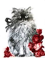KITTEN WITH RED ROSES ,Black and White