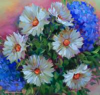 A Brush With Blue Daisies