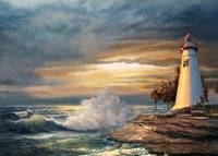Marble Head Ohio Light house with Stormy Sea