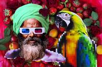 Man and a parrot in a fruit salad