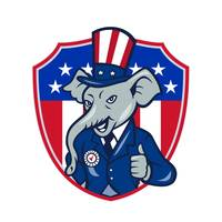 Republican Elephant Mascot Thumbs Up USA Flag Cart