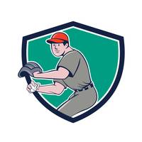 Baseball Player OutFielder Throwing Ball Crest Car