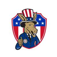 Democrat Donkey Mascot Thumbs Up Flag Cartoon