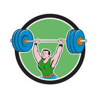 Weightlifter Lifting Barbell Circle Cartoon