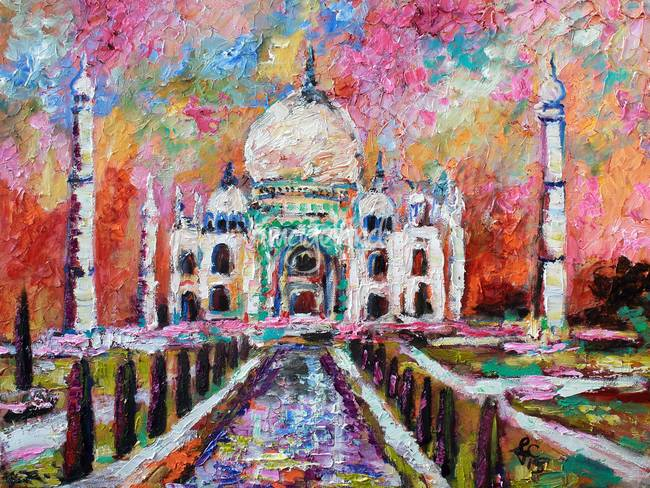 Taj Mahal India Temple Impressionist Oil Painting By Ginette Callaway