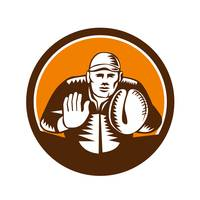 Baseball Catcher Gloves Circle Woodcut
