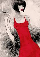 Lady with a cigarette wearing red dress