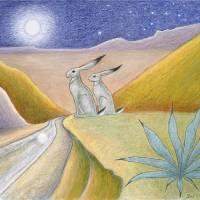 """Moon Gazing Hares"" by visionaryartoflisathiel"