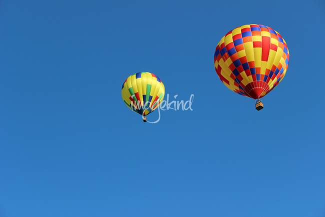 Two Yellow Hot Air Balloons Horizontal