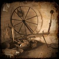 TTV Colonial Spinning Wheel Baskets Yarn Artifacts