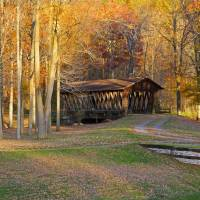 Rustic Autumn Covered Bridge Southern Tier NY Art Prints & Posters by Joan Wilcox- Glanville