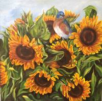 Bluebird in Sunflowers