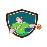 Handball Player Throwing Ball Crest Cartoon