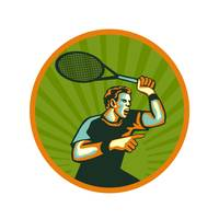 Tennis Player Racquet Circle Retro