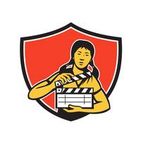 Asian Woman Movie Clapper Shield Retro
