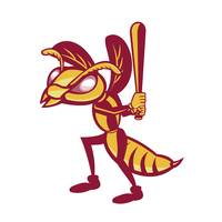 Hornet Baseball Player Batting Isolated Retro