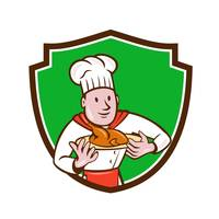 Chef Cook Roast Chicken Dish Crest Cartoon