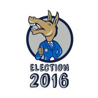 Election 2016 Democrat Donkey Mascot Circle Cartoo