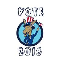 Vote 2016 Democrat Donkey Mascot Flag Circle Carto