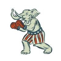 Republican Elephant Boxer Mascot Isolated Etching