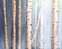Birch Sunset Blue Background with lighter