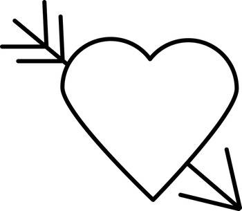 Black Heart Outline with Arrow Through It by Valerie Waters
