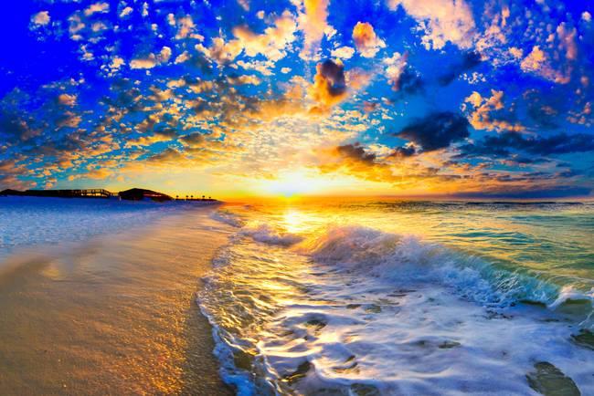 "Custom Mural Wallpaper Hd Beautiful Sandy Beach Sea View: Stunning ""Beautiful Ocean Sunset"" Artwork For Sale On Fine"