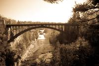 Arch Bridge over Ausable Chasm in Sepia