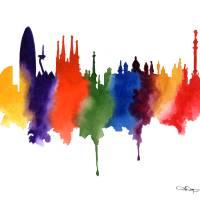 """Barcelona Skyline"" by k9artgallery"