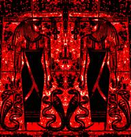 Egyptian Priests and Cobras in Red and Black I