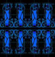 Ancient Egyptian Priests Cobras in Blue Black II