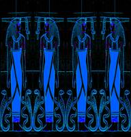 Ancient Egyptian Priests Cobras in Blue Black III