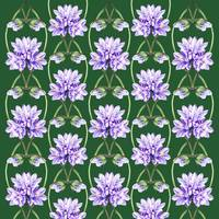 Purple Flowers On The Green Field Pattern