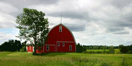 Rustic Red Barn and Verdant Green Fields