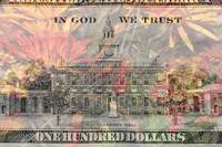One hundred dollar bill with flower background
