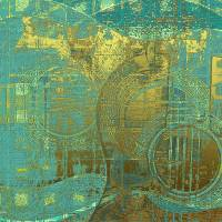 Guitar Abstract Blue Green Gold Brown by Faye Cummings
