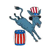 Democrat Donkey Mascot Jumping Over Barrel Cartoon