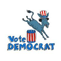 Vote Democrat Donkey Mascot Jumping Over Barrel Ca